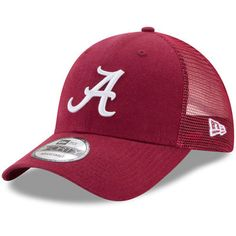 79b6cad1b09 Men s New Era Crimson Alabama Crimson Tide Washed Trucker 9FORTY Adjustable  Hat
