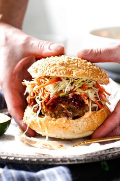 These crazy juicy Asian Burgers are so bursting with flavor you barely need to add anything and its one of the quickest dinners you will make! The hoisin ketchup, Garlic Chili Mayo and Asian Slaw are (Pineapple Burger Recipes) Asian Burger Recipe, Burger Recipes, Beef Recipes, Cooking Recipes, Korean Burger, Korean Beef, Asian Slaw, Carlsbad Cravings, Good Food