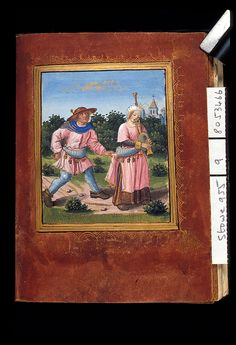 Peasant woman in a brown dress and pink overdress, with a decorated peasant's bag around her waist. 16th-century France. Need further documentation of the overdress; this style may be fantasy.