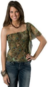 Green Peacock Print One Shoulder Fashion Top $24