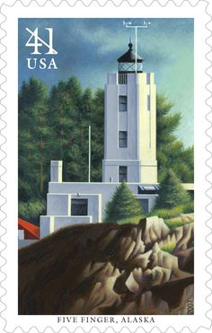 Five Finger Lighthouse stands on a small island south of Juneau at the entrance to Alaska's scenic Frederick Sound and Stephens Passage. Construction on the original wood tower was completed in 1902, making it one of the two oldest U.S. lighthouses in Alaska. This stamp was issued in 2007.,