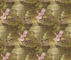 Fairy and Frog ~Ida Rentoul Outhwaite fabric by peacoquettedesigns on Spoonflower - custom fabric