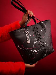 Pretty has a new name. The Missile bag is a large leather tote with black spikes in the front. Custom hand painted in red and white. Luxury Bag Brands, Luxury Bags, Leather Craft, Leather Bag, Custom Bags, Spikes, Red And White, Black, Attitude