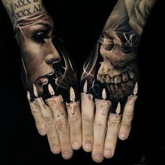 52 Best Tattoos Inspired by Classical Art and More for Handsome Mens tattoos inspired by art; tattoos inspired by books; tattoos inspired by movies; tattoos inspired by depression; tattoos inspired by history; tattoos inspired by nature Hand Tattoos For Guys, Hand Tats, Finger Tattoos, Tattoos For Women, Skull Tattoos, Body Art Tattoos, Skull Hand Tattoo, Maori Tattoos, Marquesan Tattoos