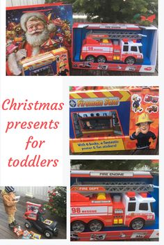 """It`s a joy watching Matti opening his presents left by Santa and the elves near the Christmas Tree. He wished 3 things for this Christmas: """"vrooom-vrooom"""" (=. Christmas Presents For Toddlers, Toddler Christmas, Christmas Tree, Fireman Sam, Firetruck, Fire Engine, The Elf, 3 Things, Elves"""
