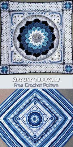 Around the Bases [Free Crochet Pattern] Around-the-Bases blanket is a multi-stit. Around the Bases [Free Crochet Pattern] Around-the-Bases blanket is a multi-stitch design that turn Motif Mandala Crochet, Crochet Motifs, Mandala Blanket, Crochet Borders, Crochet Doilies, Doilies Crafts, Crochet Stitches, Crochet Pattern Free, Granny Square Crochet Pattern