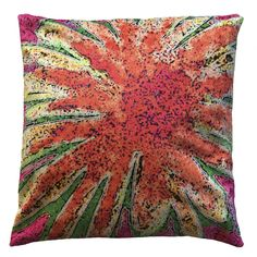 """Handmade RADOST Throw Pillow $54 * ENERGY BLAST (ORANGE) * Removable insert; washable cover * Material: Minky (100% polyester) * Dimensions: 16"""" high x 16"""" wide * Pillow cover care instructions: Machine wash cold and line dry; do not bleach."""
