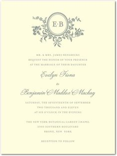 Very elegant and delicate - pretty with the blue font type. Letterpress Wedding Invitations Traditional Style - Front : LP Indigo