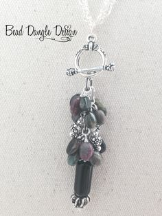Black Glass and Tourmaline Beaded Dangle Necklace
