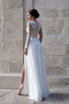 Long Sleeve Chiffon Split Side A-Line Wedding Dress - Uniqistic.com