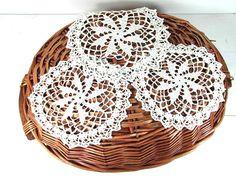 3 handmade vintage doilies crochet lace doily white cotton