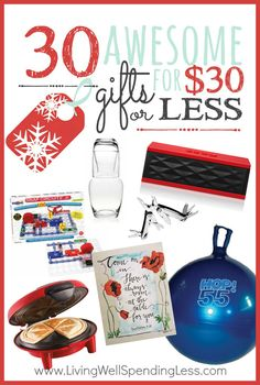 Finding the perfect gift can be a challenge, especially when you don't have much to spend!  If you've still got some shopping to do (or haven't even started yet) you will not want to miss these 30 awesome gift ideas for $30 or less!  From kids to adults, these creative, practical, and thoughtful gifts will dazzle even the most challenging person on your list!
