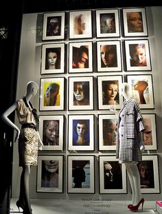 Window display with framed photography. #retail #merchandising #display #frames #window_display