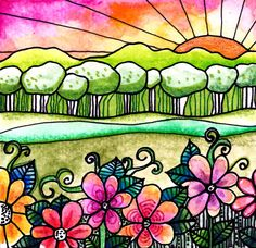 Bright Horizon landscape sunrise art print flowers art print  trees art print garden painting floral art print flowers art print