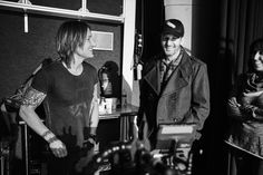 Keith Urban and HickyFilm checking out some playback footage.