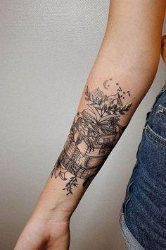 Awe-inspiring Book Tattoos for Literature Lovers - KickAss Things jaw-dropping book tattoo ideas © tattoo artist Angelika Ulyanova Neue Tattoos, Bild Tattoos, Body Art Tattoos, Tattoo Drawings, Thigh Piece Tattoos, Wicked Tattoos, Foot Tattoos, Forearm Tattoos, Bookish Tattoos