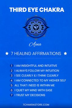 Chakra Heilung, Chakra Mantra, Meditation Musik, Healing Meditation, Third Eye Meditation, Healing Affirmations, Positive Affirmations Quotes, Chakras, Opening Your Third Eye