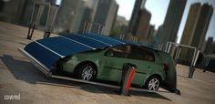 Dit nieuwe parkeersysteem is een concept dat gebruik maakt van een cover van zonnepanelen. Deze cover…