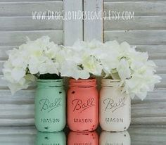 Mint Green, Coral & Cream Painted Mason Jars - Vases, Centerpieces, Decor by jannie