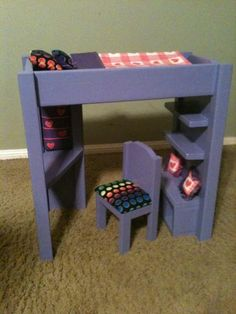 "DIY Furniture : DIY Loft bed for american girl or 18"" doll"