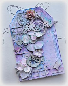 Tag by Kelly Foster featuring Blue Fern Studios chipboard and Ombre Dreams papers. Scrapbooking.