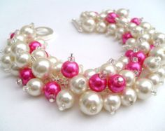 Bridesmaid Jewelry Hot Pink and Black Pearl Beaded by KIMMSMITH