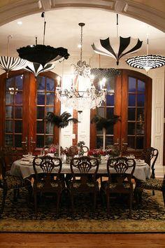 Love the umbrellas and feathers! Fun idea, like the room too ;) Paris, birthday
