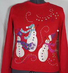 Snowman Christmas Sweater Kim Rogers Red Large Embellished Holiday Party #UglySweater #Crewneck