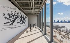 One advantage of the Whitney's location is the Hudson River view from a 5th-floor gallery space.