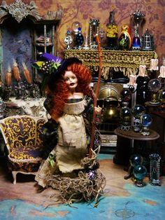 OOAK 5.5 inch Dollhouse Miniature Poseable Doll by LoreleiBlu