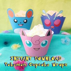 Pokemon Inspired Cupcake Wrappers  Instant by MissFrightsDelights