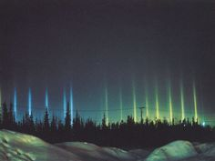 Light PIllars, Walter Tape (Alaska Fairbanks) May 2006  flat fluttering ice crystals may form near the ground in a form of light snow, sometimes known as a crystal fog. These ice crystals may then reflect ground lights in columns not unlike a Sun-pillar.