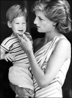 Princess Diana holding Prince Harry