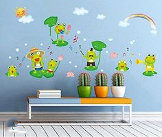 Fange DIY Removable Happy Frog Cartoon Art Mural Vinyl Waterproof Wall Stickers Kids Room Decor Nursery Decal Sticker Wallpaper 169x98 ** Find out more about the great product at the image link.