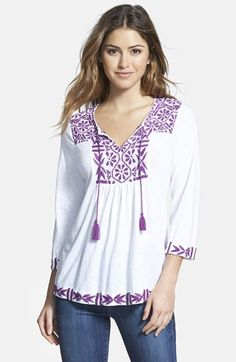 Lucky Brand Embroidered Split Neck Top available at #Nordstrom