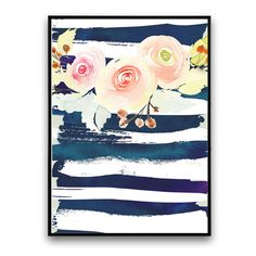 Plakat z kwiatami, biało-niebieskie tło, 30 x 40 cm | Bonami