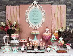 Country Bridal Shower Ideas | Shabby Chic Girl Spring Floral Bridal Shower Party Planning Ideas