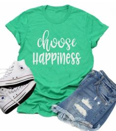 Glitter Choose Happiness Shirt | Funny Shirts | Funny Quotes | Women's Shirts | Bella Canvas T Shirt | Just Saying Shirt |  Youth or Adult - YOUTH L / HEATHER AQUA