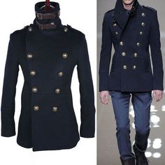 Outerwear :: Slim Fit High Neck Navy Peacoat-Coat 05 - Mens Fashion Clothing For An Attractive Guy Look Navy Pea Coat, Boy Outfits, Fashion Outfits, Sharp Dressed Man, Cashmere Wool, Mens Clothing Styles, Stylish Men, Mantel, Menswear