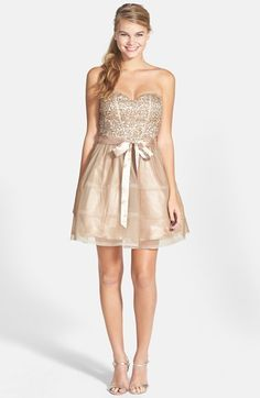 Steppin Out Sequin Lace Strapless Skater Dress (Juniors)