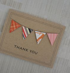 Thank You Card  Bunting  Banner  100 Recycled door KeyLimeCards, $4.99