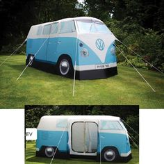 Why take shelter in some dull, conventional tent when you can recreate the Summer of Love in the hippie-tastic VW Camper Van Tent?
