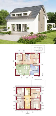 Einfamilienhaus mit Satteldach - Haus Celebration 150 V3 Bien Zenker - Fertighaus bauen Grundriss modern mit Carport separater Küche - HausbauDirekt.de