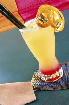 bahama mama | 2.75 oz. spiced rum 2.75 oz. gold rum 2.75 oz. coconut rum 2.75 oz. creme de banana liquor 10 oz. pineapple juice 10 oz. orange juice (without pulp) splash of grenadine | pour into a hurricane glass with ice.    SOOO yummy - recommended while sitting in a pool or hot tub by the sea!