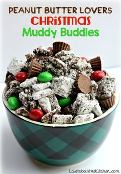 Peanut Butter Lovers Christmas Muddy Buddies- The best snack for peanut butter lovers! With more peanut butter and the addition of mini Reese's Peanut Butter Cups and Peanut Butter M&M's, these Muddy Buddies are a peanut butter lovers dream! Holiday Snacks, Christmas Snacks, Christmas Cooking, Holiday Recipes, Christmas Recipes, Christmas Candy, Xmas Food, Christmas Kitchen, Christmas Stuff