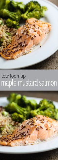 Ready in 20 minutes, Low FODMAP Maple Mustard Salmon is not only quick and delicious, but it's gluten-free and packed with heart-healthy fats! Salmon Recipes, Seafood Recipes, Diet Recipes, Cooking Recipes, Healthy Recipes, Tasty Snacks, Quick Recipes, Summer Recipes, Fodmap Recipes