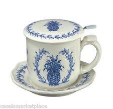 Andrea by Sadek Williamsburg Blue Pineapple Tea Mug / Cup w/ Saucer & Strainer