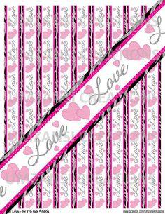 DIY Glitter Love Printable 7/8 Ribbon Iron On by MaddieZee on Etsy, $1.50
