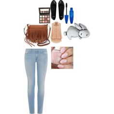 A fashion look from February 2015 featuring red chiffon top, blue jeans and flat shoes. Browse and shop related looks.
