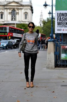 Kenzo Sweater and leather pants - image by StunningStreetstyle #LFW